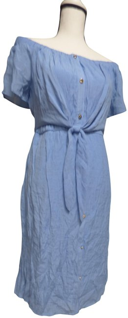 Item - Chambray Blue 89.50 Off-the-shoulder Tie-waist Mid-length Short Casual Dress Size 8 (M)