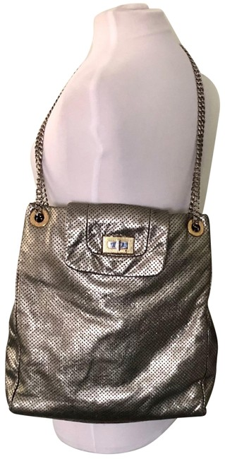 Item - Large Drill Silver Leather Tote