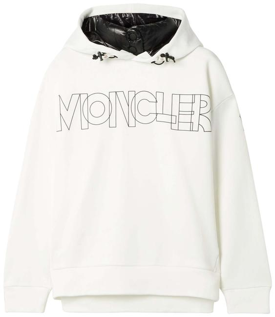 Item - White Jersey Grenoble Shell-trimmed Printed Hoodie Activewear Size 12 (L)