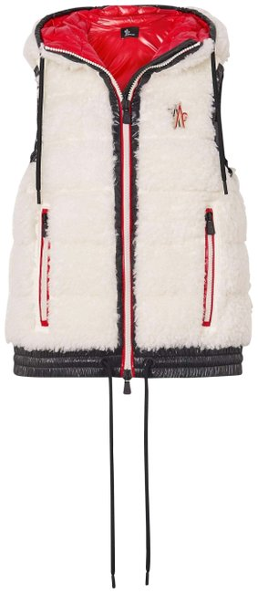 Item - White Maglia Hooded Shell-trimmed Faux Shearling Down Vest Size 16 (XL, Plus 0x)