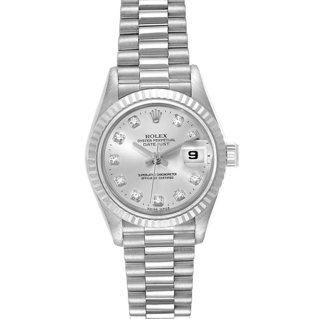 Item - Silver President Datejust 26 White Gold Diamond Ladies 69179 Watch