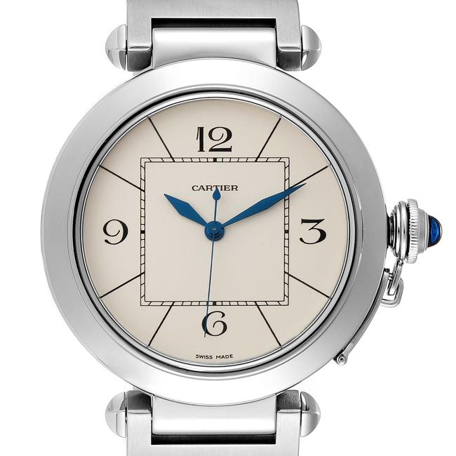 Item - Silvered Pasha 42 Dial Exhibition Case Back Steel Mens Watch