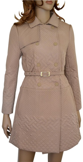 Item - Beige Double Breast Designer Quilted Coat Size 0 (XS)