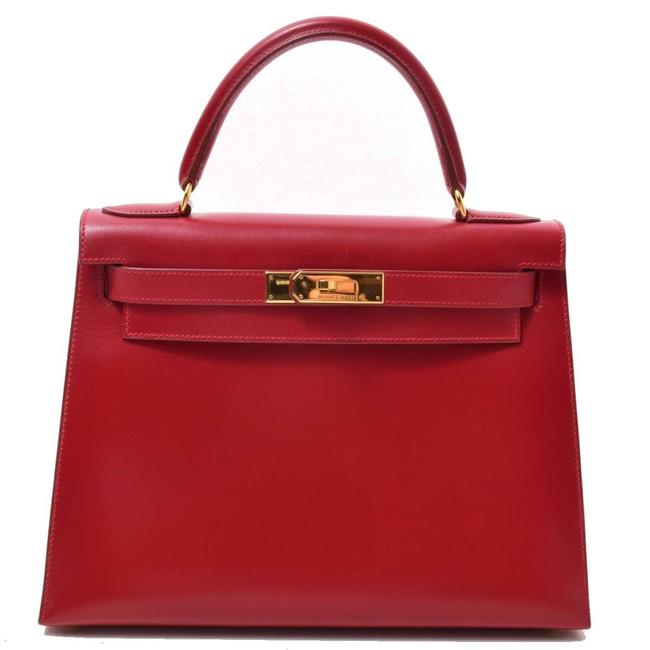 Item - Kelly Box Calf 28 Rouge Gold Hardware Handbag Leather Red Color Satchel