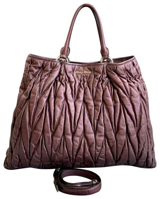 Item - Bag Quilted Matelasse Large 2-way Purple Calfskin Leather Tote