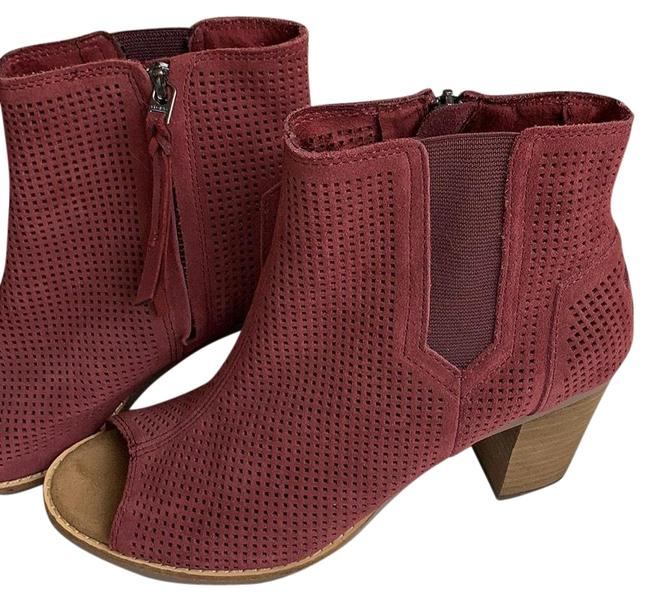 Item - Burgundy Open Toe Ankle Boots/Booties Size US 7.5 Regular (M, B)