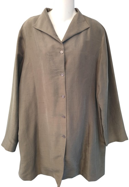 Item - Gray Silk Button Front Tunic Top Jacket Size 16 (XL, Plus 0x)