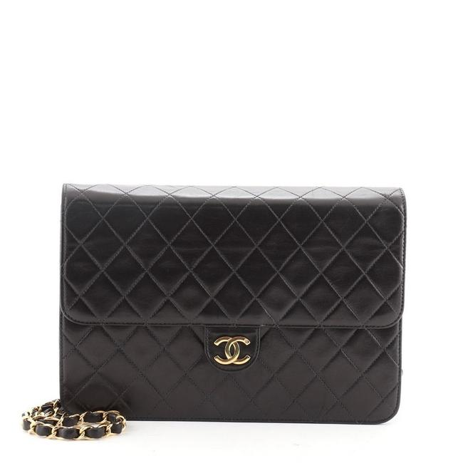 Chanel Vintage with Chain Quilted Medium Black Leather Clutch Chanel Vintage with Chain Quilted Medium Black Leather Clutch Image 1