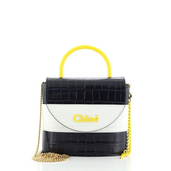 Item - Aby Lock Crocodile Embossed Small Blue White Yellow Leather Shoulder Bag