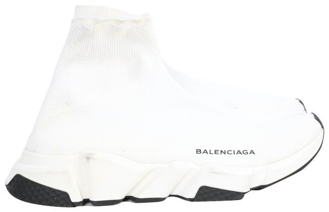 Item - White Signature Stretch-knit Sock High-top Trainer Sneakers Size US 10 Regular (M, B)