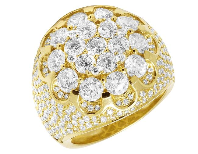 Item - 14k Yellow Gold XL Men Flower Cluster 3d Real Diamond Pinky 24mm 7.75ct Ring