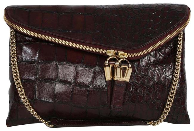 Item - Clutch Croco Embossed Chain Brown Leather Shoulder Bag