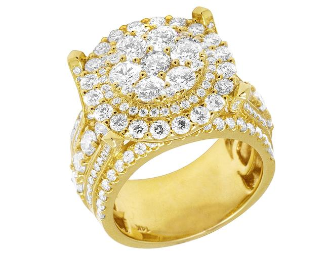 Item - 14k Yellow Gold XL Raised Cluster 2 Row Real Diamond Cluster Pinky 6.16 Ct 20mm Ring