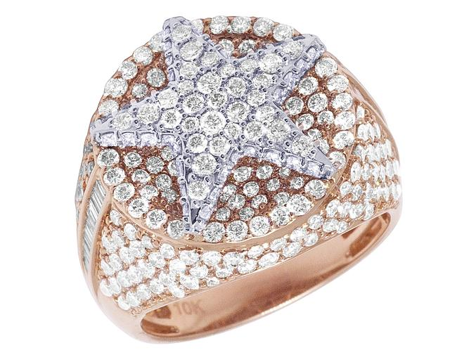 Item - 10k Rose Gold Floating Star Real Diamond Baguette Pinky 20mm 5.16ct Size 10 Ring