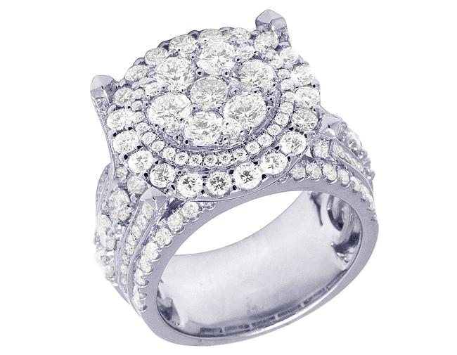 Item - 14k White Gold XL Raised Cluster 2 Row Real Diamond Cluster Pinky 6.61 Ct 18mm Ring