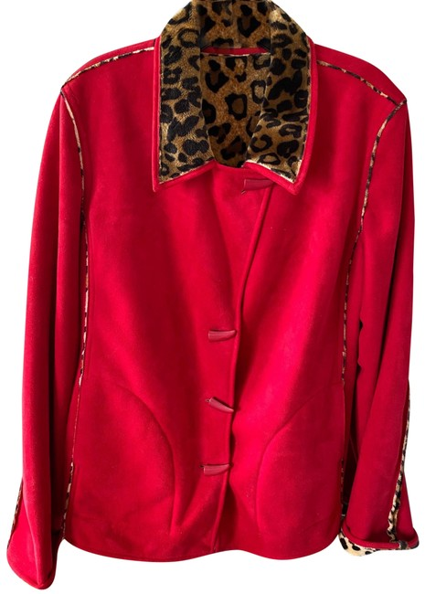 Item - Red and Animal Print No Number Coat Size 8 (M)