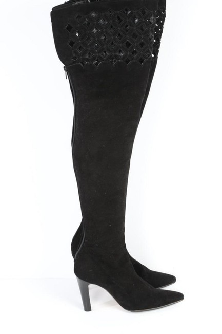 Item - Black Suede Laser Cut Out Over The Knee Boots/Booties Size US 6.5 Regular (M, B)
