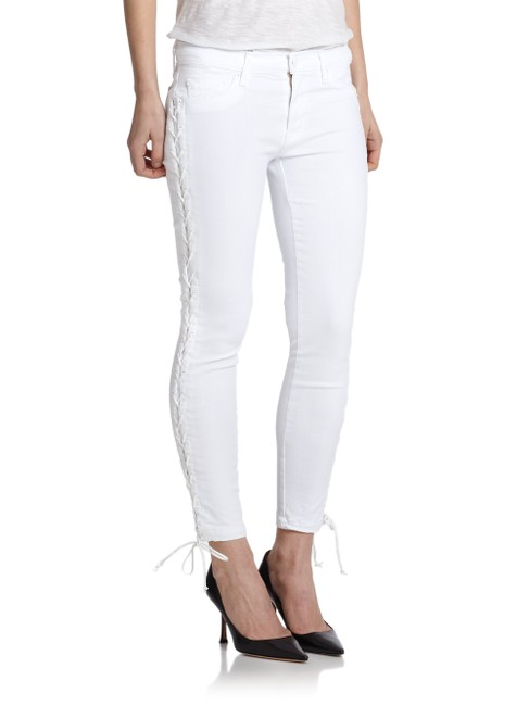 Item - White Custom Raven Lace Up Super Skinny Jeans Size 24 (0, XS)