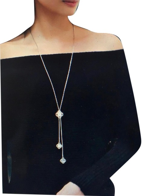 Item - Silver Sterling Long Crystal Sweater Necklace