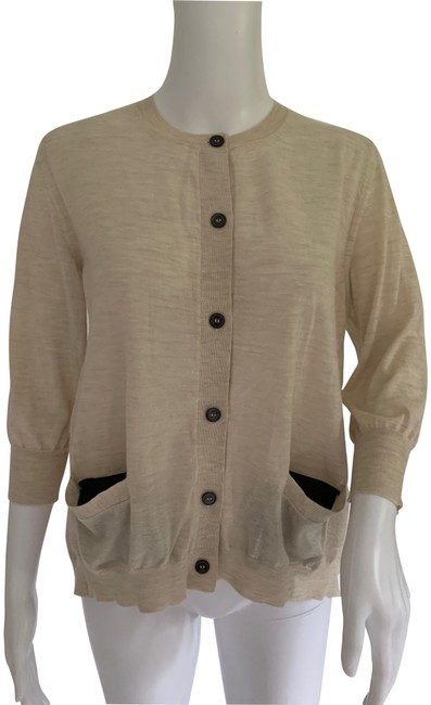 Item - Beige Marni Oatmeal Cashmere Blend Fine Knit Sweater Pockets Cardigan Size 6 (S)