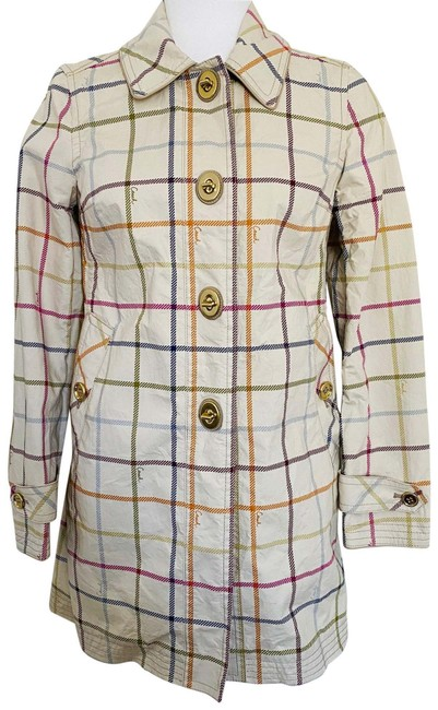 Item - Cream Pink Green Purple Blue Tattersall Plaid Trench Coat Jacket Size 2 (XS)