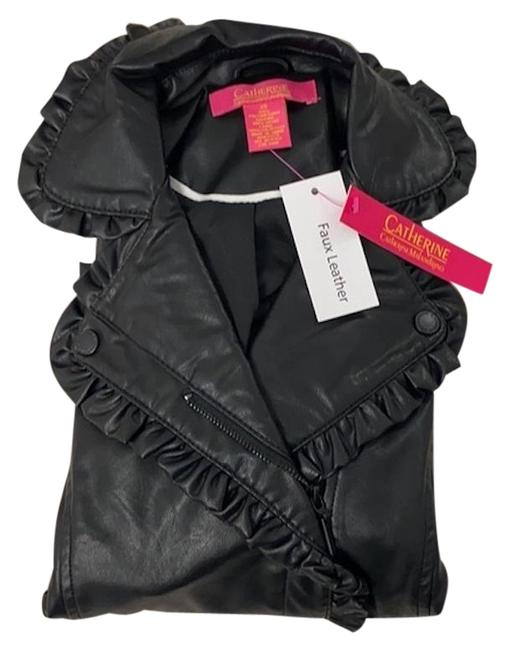 Item - Black Ruffle Trim Faux Moto Jacket Size 2 (XS)
