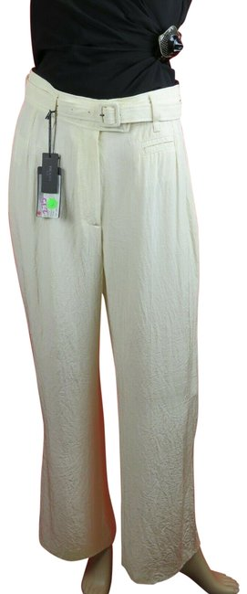 Item - Cream P2398c Triacetate Belted Trousers 44 Italy Pants Size 10 (M, 31)