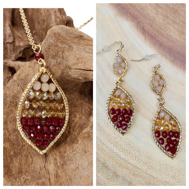 Item - Burgundy & Gold Beaded Long Dangle Earrings Necklace