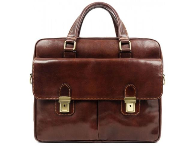Item - Briefcase/Attache Case - The Stand Brown Cowhide Leather Laptop Bag