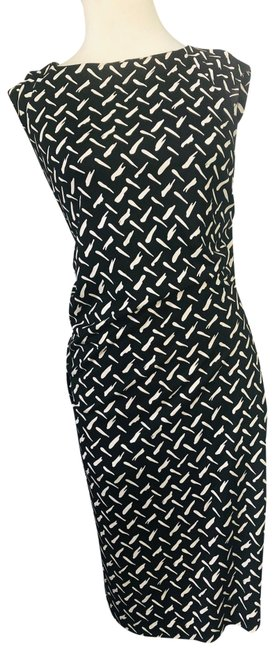 Item - Black and White Silk Mid-length Work/Office Dress Size 2 (XS)