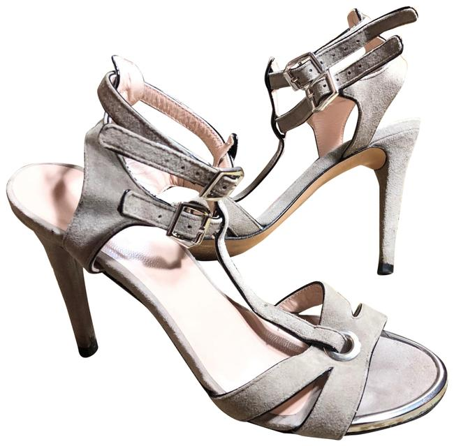 """Item - Gray/Silver Suede/Silver Accent Strappy 4"""" Sandals Size US 6 Regular (M, B)"""