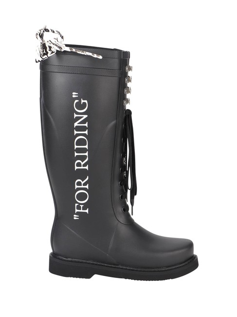 Off-White™ Black For Riding Wellington In Elastodiene Boots/Booties Size EU 41 (Approx. US 11) Regular (M, B) Off-White™ Black For Riding Wellington In Elastodiene Boots/Booties Size EU 41 (Approx. US 11) Regular (M, B) Image 1