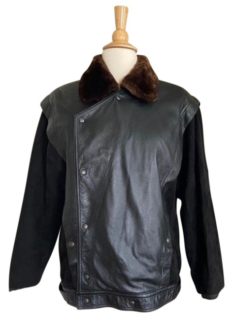 Item - Black 1980's Moto with Faux Fur Collar Jacket Size 4 (S)
