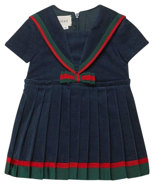 Item - Blue Children's Corduroy with Bow Navy Short Casual Maxi Dress Size OS (one size)