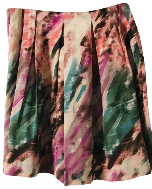 Item - Colorful Silk Pleated Watercolor Skirt Size 14 (L, 34)