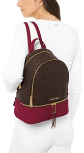 Michael Kors Brown/Berry Pvc/Leather Rhea Signature/Leather Backpack
