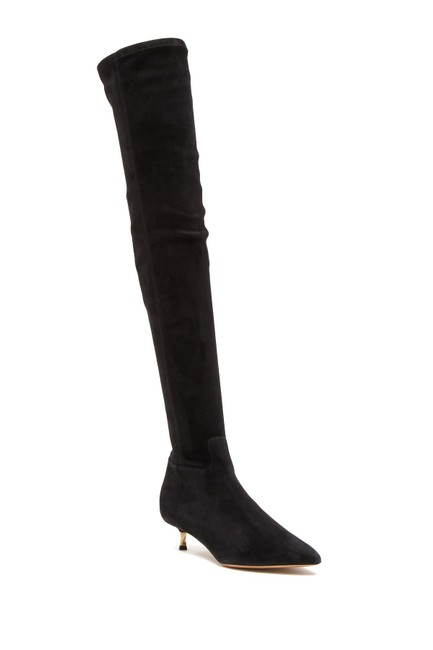 Item - Black Over The Knee Suede Pointy Gold Kitten Heel (J Boots/Booties Size EU 38 (Approx. US 8) Regular (M, B)