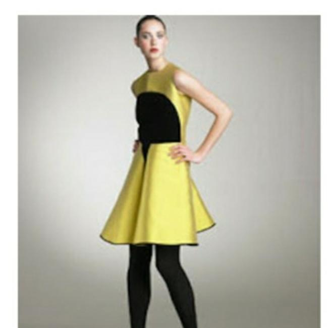 Item - Yellow and Black Ysl Runway Short Cocktail Dress Size 6 (S)