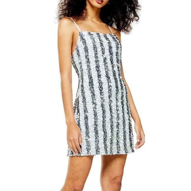 Item - Silver Stripe Sequin Cocktail Slip Short Night Out Dress Size 8 (M)