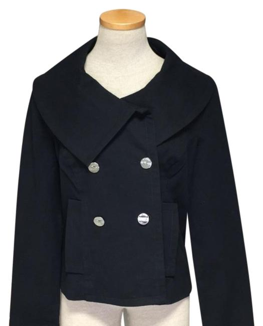 Item - Black Double Breasted Lightweight Wide Collar Silver Buttons Nwot Jacket Size 6 (S)