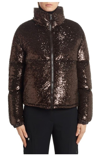 Moncler Brown Rimac Sequin Quilted Down Puffer Jacket Coat Size 2 (XS) Moncler Brown Rimac Sequin Quilted Down Puffer Jacket Coat Size 2 (XS) Image 1