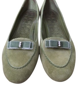Coach Suede Bows Applique New Velvet Green Flats