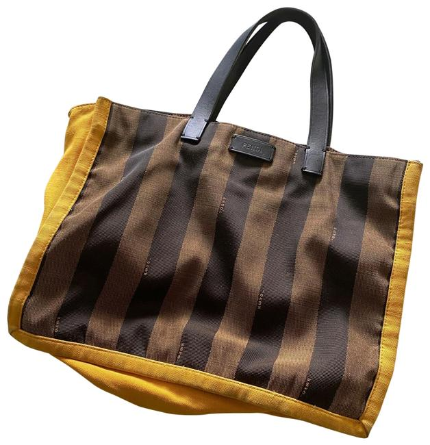 Item - Pequin Busta Striped Brown-yellow Canvas Tote