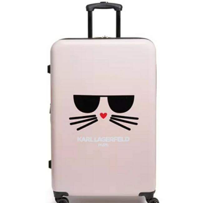 Karl Lagerfeld Cat Logo Pink Hard Case Weekend/Travel Bag Karl Lagerfeld Cat Logo Pink Hard Case Weekend/Travel Bag Image 1