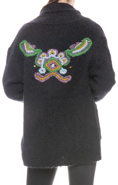 Item - Dark Grey with Embroidery Alpaca Tapestry Sweater Cardigan Size 6 (S)