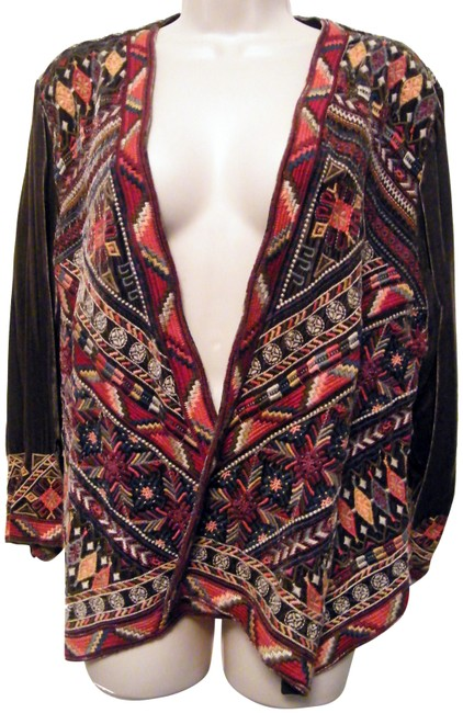 Item - Grey Multi Color Ravi Velvet Bolero Jacket Size 18 (XL, Plus 0x)