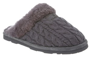 Bearpaw Grey Slippers Slip-on Knit Sheepskin Effie Size 8 Charcoal Grey Flats