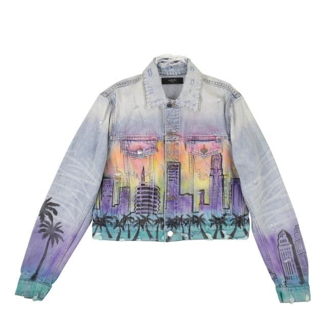 Item - Blue Cotton Hollywood Airbrush Trucker Jacket Size 4 (S)