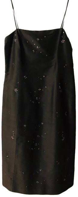 Item - Brown Silk Beaded Straps Spagnetti Paillettes Short Cocktail Dress Size 12 (L)