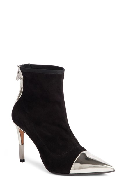 Item - Black Silver Pointy Toe Suede Metallic (38) Boots/Booties Size EU 38 (Approx. US 8) Regular (M, B)